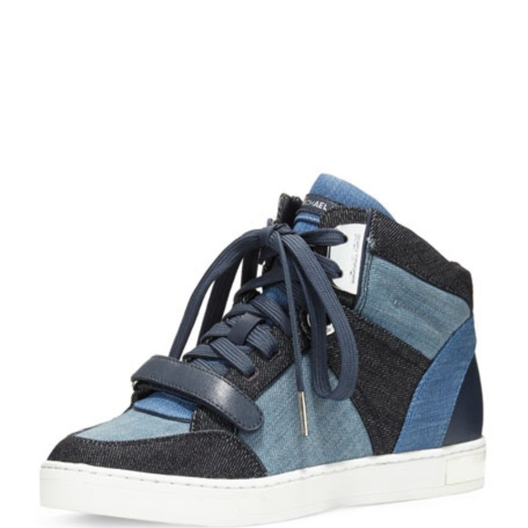92dab5c665cd4 BNIB Michael Kors Denim Ollie High Top Sneakers